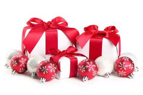 red  white christmas balls  gifts wallpaper hd wallpapers