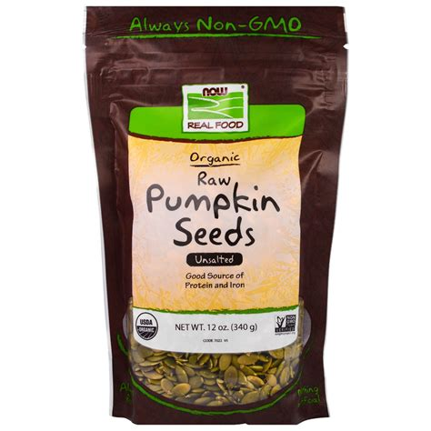 Organic Pumpkinseed now foods organic pumpkin seeds unsalted 12 oz