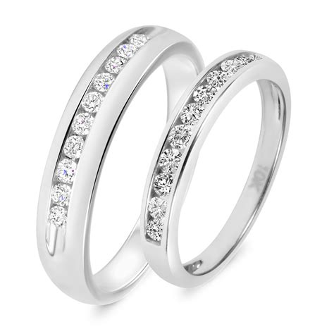 5 8 carat t w his and hers wedding band set 14k
