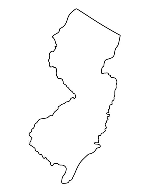 New Jersey State Map Outline by Printable New Jersey Template