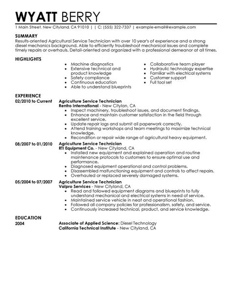 maintenance technician resume sles best service technician resume exle livecareer
