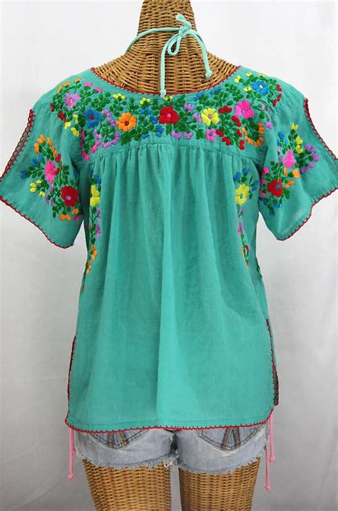 Rainbow Green Lotus Blouse Quot La Lijera Quot Embroidered Peasant Blouse Mexican Style Mint