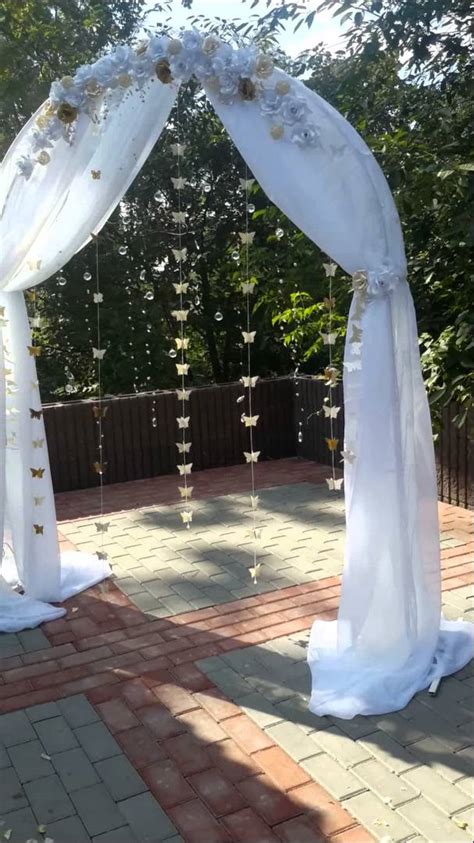 Wedding Arch With Drapes by Wedding Arch With Butterfly And Flowers