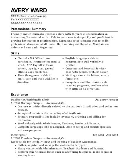 contemporary resume for clerk typist collection resume