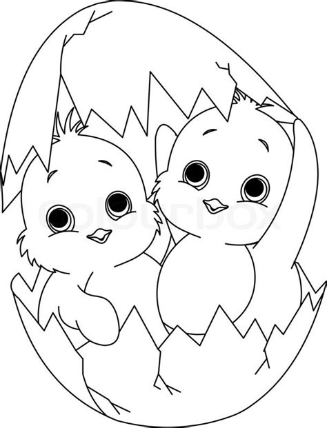 broken egg coloring page two easter chickens hatched from one egg coloring page