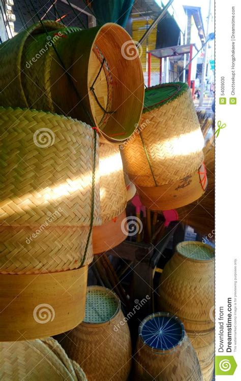 Sticky Traditional Handmade - thai traditional handmade weaver ware stock photo image