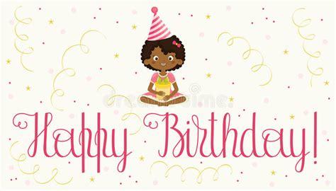 happy birthday card  black girl stock vector illustration  illustration cute