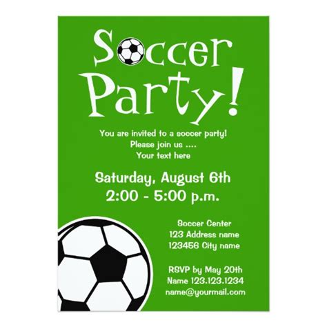 soccer invitation card templates soccer invitations for birthdays or bbq zazzle