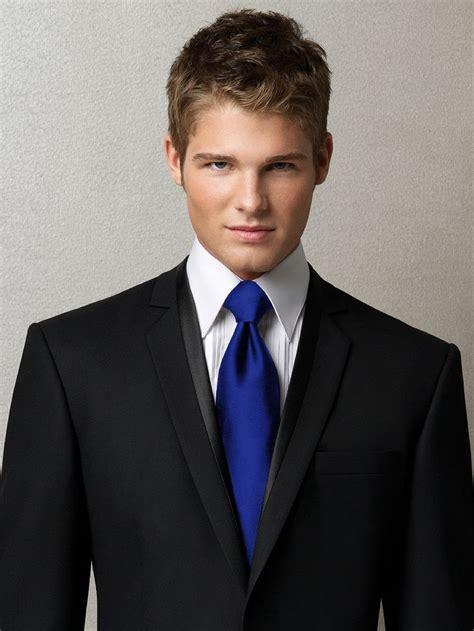black suit royal blue tie the big day