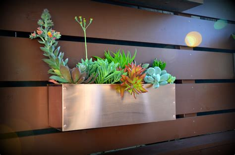 copper hanging planter box horizontal fence planter