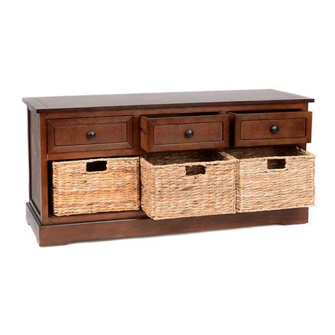brown storage bench with baskets brown 6 drawer storage bench with baskets kirklands