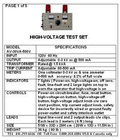 high voltage ontario dielectric and continuity testers electronic test