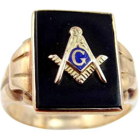antique 10k gold masonic ring with enamel and onyx from