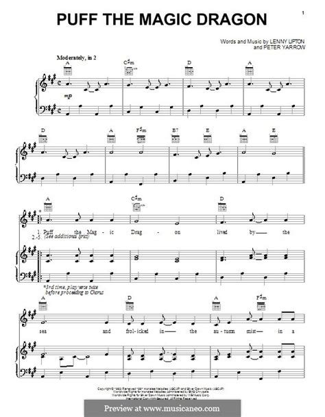 printable lyrics for puff the magic dragon puff the magic dragon peter paul mary by l lipton p