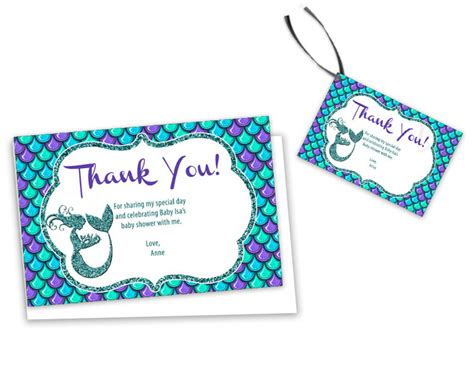 Thank You Card Template Baby Shower Tags by Mermaid Baby Shower Thank You Cards Or Tags Print