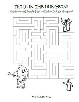 harry potter printable activity sheets harry potter worksheet troll in the dungeon maze