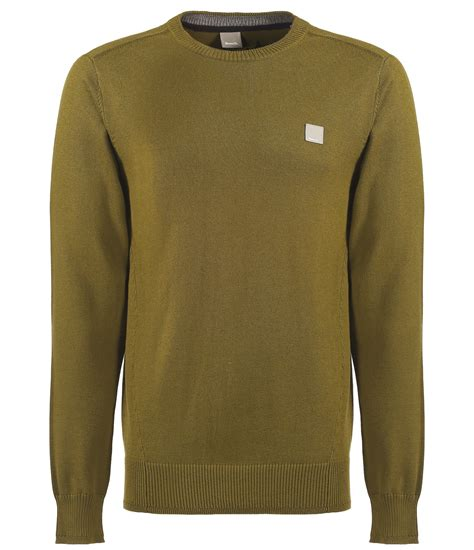mens bench jumpers bench hydriant crew neck knit jumper in khaki for men