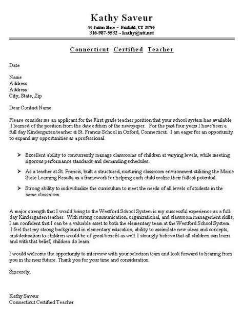 resume cover letter for teachers sle resume cover letter for