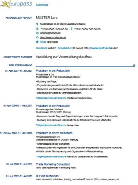 Exemple De Lettre En Allemand Mod 232 Le De Cv Europass En Allemand Exemples De Cv