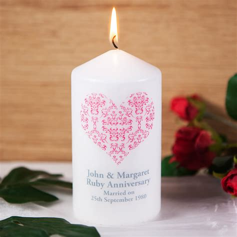 wedding anniversary gifts next day delivery personalised ruby wedding anniversary candle buy from