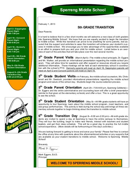 up letter middle school 5th grade transition letter