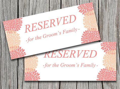 reserved sign template word wedding reserved sign template coral chrysanthemum