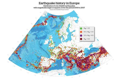earthquake europe danger zones mapping europe s earthquakes geographical