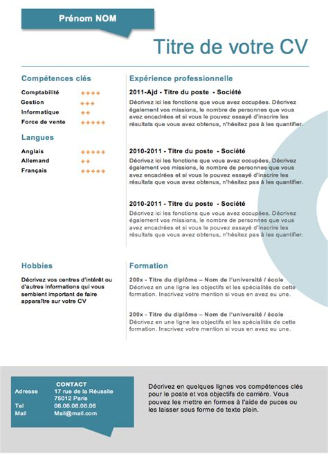 Créer Un Cv Gratuit by Resume Format Cv Gratuit A Telecharger Sans Inscription