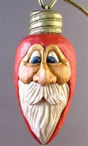 christmas light ornament santa wood carving
