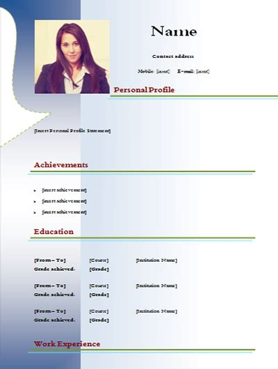 Model Curriculum Vitae In Word Cv Model Blue Color Simple Exle 1 Cv Models Stylish Cv Form And