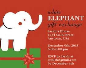 white elephant gift exchange christmas party invitation