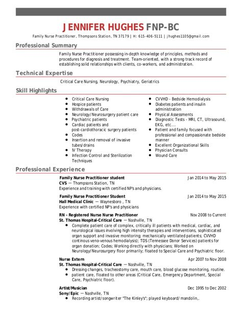 Rn Resume Skill Highlights Hughes Fnp Bc Resume 2016