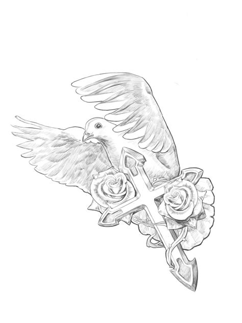 dove cross tattoo the gallery for gt dove sketch