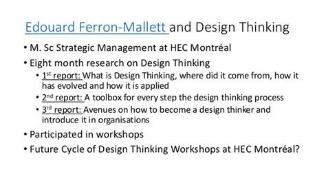 Hec Montreal Mba Placement Report by Slide Design Thinking Workshop Mba Hec