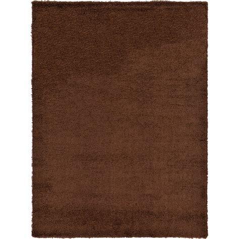solid brown area rug andover mills lilah solid shag brown area rug reviews wayfair ca