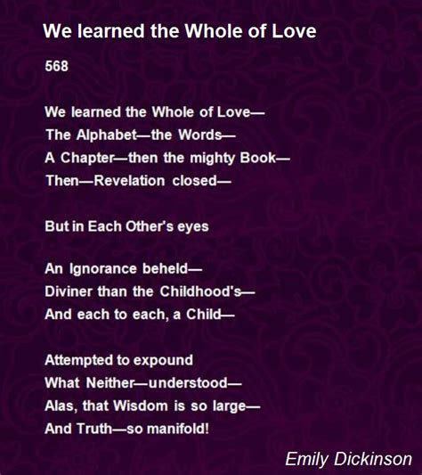emily dickinson poetry biography we learned the whole of love poem by emily dickinson