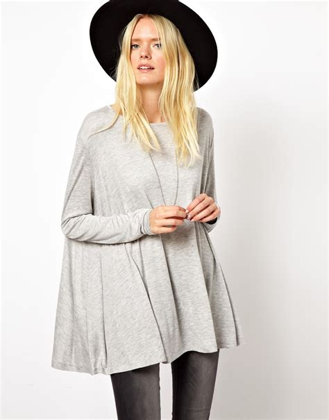 grey swing top lyst just female oversized swing top in gray