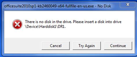 Cd Drive Microsoft Office todd 4 tech office 2010 sp1 error there is no disk in the drive