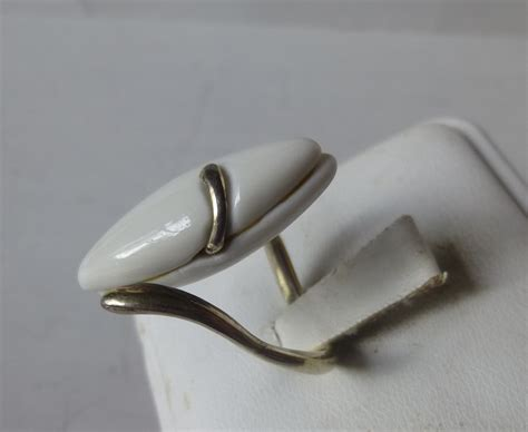 Silver And White L by Royal Copenhagen Sterling Silver White Porcelain Pod Ring