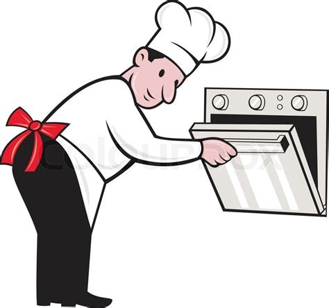 Kitchen Designs And Prices cartoon chef baker cook opening oven vector colourbox