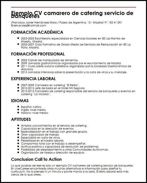 Modelo Curriculum Camarero Ejemplo Cv Camarero De Catering Servicio De Banquetes Micvideal
