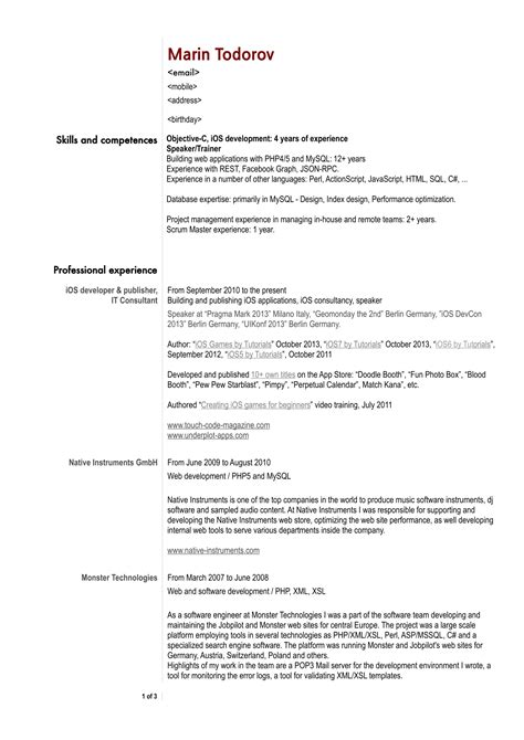 software developer resume format partypix me