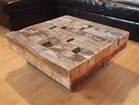 coffee table made from reclaimed hand hewn lumber diy