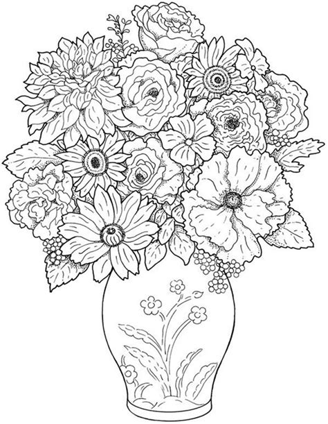 coloring pictures of flowers in a vase free printable flower coloring pages for best