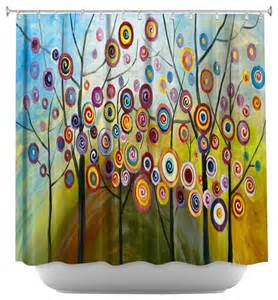 shower curtain artistic abstract blossom ii