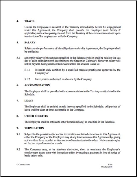 work agreement template employment contract template cyberuse