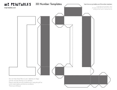 mr printables 3d number templates