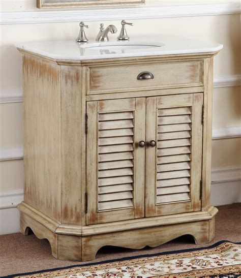 Cottage Bathroom Vanities by Adelina 32 Inch Cottage Bathroom Vanity White Marble Top