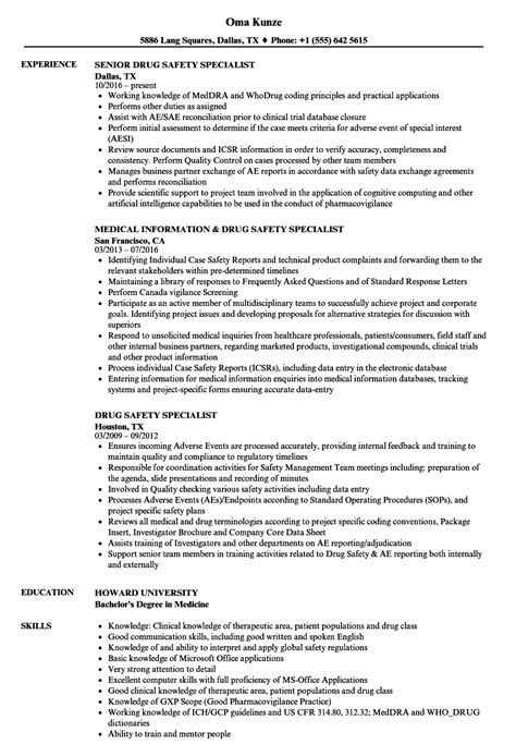 drug safety specialist resume sles velvet jobs