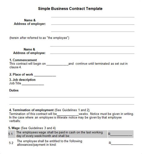 Simple Business Agreement Template business contract template 7 free pdf doc
